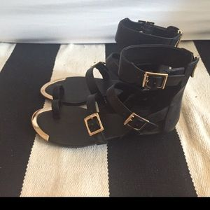 BCBG Strappy Sandal with Gold Buckles